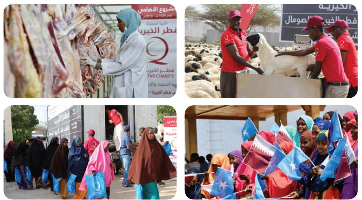 تشرف الجمعيات الخيرية في قطر على توزيع لحوم الأضاحي على الآلاف من ذوي الحاجة كالأسر المتعففة وذات الدخل المحدود وعمال العزب
